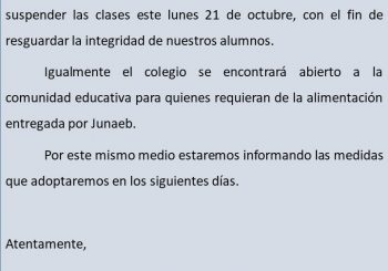 COMUNICADO OFICIAL LUNES 21 DE OCTUBRE