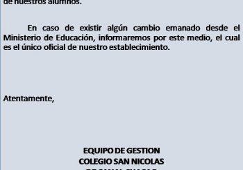 COMUNICADO OFICIAL MARTES 22 DE OCTUBRE